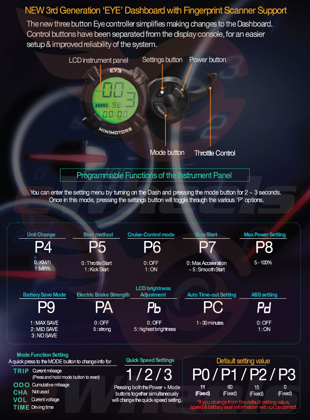 Dualtron Thunder Setting/Configuration Menu