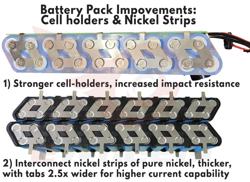 LiTech Nickel Strips & Cellholder Improvements for Begode 900Wh Battery Pack