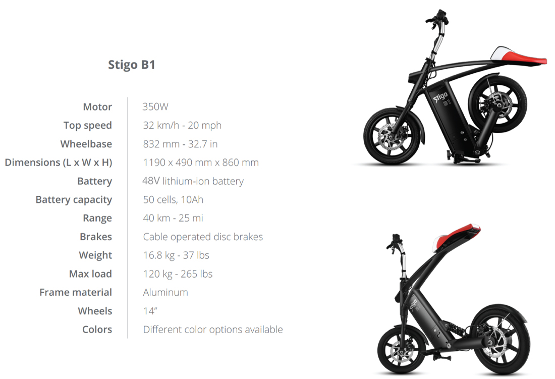 Stigo B1 Technical Specifications