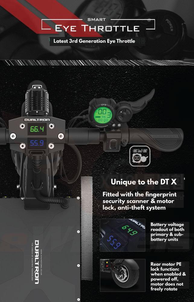 Dualtron X Brochure- Dashboard, Throttle, & Security