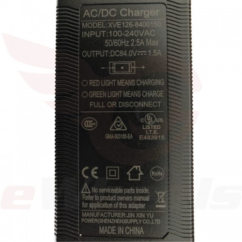 King Song Standard 84.2V/1.5A Charger Label