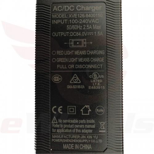 King Song Standard 84.2V/1.5A Charger Label
